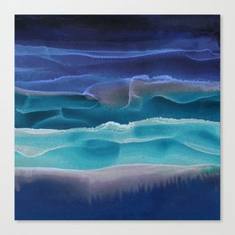 Alcohol Ink Seascape 3 - Sea at Night Canvas Print
