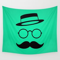 moustache Wall Tapestries featuring Retro / Minimal vintage face with Moustache & Glasses by badbugs_art