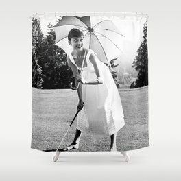 Audrey Hepburn Playing Golf, Black and White Vintage Art Shower Curtain