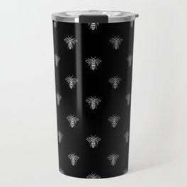 Linocut bee minimal nature insect printmaking black and white bees wasps Travel Mug