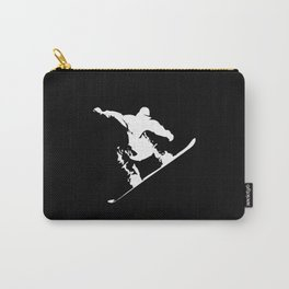 Snowboarding White Abstract Snow Boarder On Black Carry-All Pouch