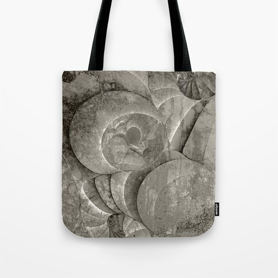 Fossilized Shells - Black & White Tote Bag