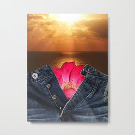 Unbuttoned jeans on the sunset background Metal Print