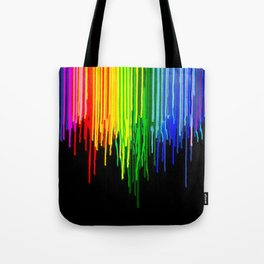 Rainbow Paint Drops on Black Tote Bag