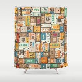 Luggage Tags Retro Shower Curtain