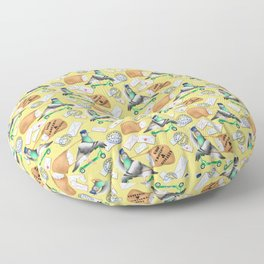 Pigeons Express (Yellow Background) Floor Pillow