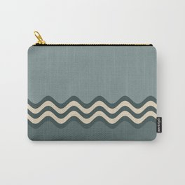 Night Watch & Alpaca Wool Cream Wavy Horizontal Stripes on Juniper Berry & Scarborough Green Carry-All Pouch