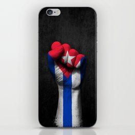 Cuban Flag on a Raised Clenched Fist iPhone Skin
