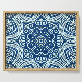 Blue and Gold  flowers pattern Serving Tray