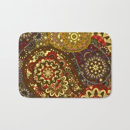 Retro 1960's Paisley Pattern in Red and Gold Bath Mat
