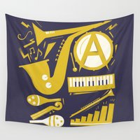 jazz Wall Tapestries featuring Jazz by Veronika K