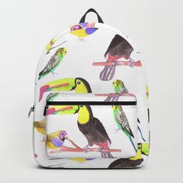 Exotic Pet birds in watercolor- Budgies, toucans and gouldian finches Backpack