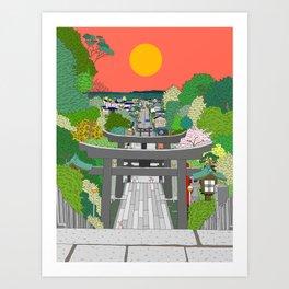 Passage to Light - Miyajidake Shrine Art Print