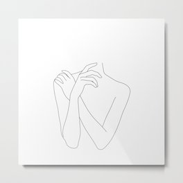 Nude figure line drawing - Tiff Metal Print