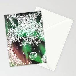 Northern Lights Wolf Stationery Cards