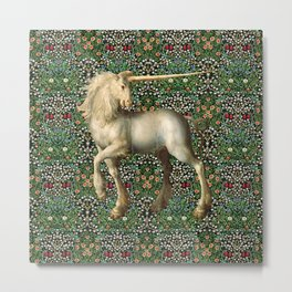 Medieval Unicorn Metal Print