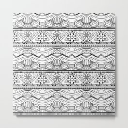 Floral pattern black and white Metal Print
