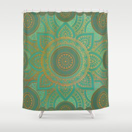 teal and gold shower curtain.  Sea Turquoise Pattern Mandala Teal Gold Shower Curtain Tarot Curtains Society6