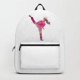 Karate Girl Colorful Watercolor Art Backpack
