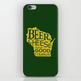 Green and Gold Beer, Cheese and Good Company Wisconsin iPhone Skin