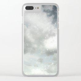 Snowing Winter Scene Illustration #decor #society6 Clear iPhone Case