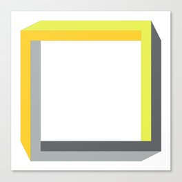 Impossible shapes: 3D square in yellow and gray Canvas Print