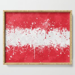 Austria Flag - Messy Action Painting Serving Tray