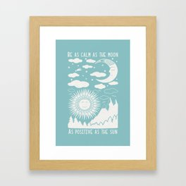 Moon Sun and Mountains Vintage Folkart Illustration / Typography Framed Art Print