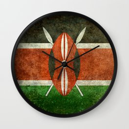 National flag of Kenya -Vintage version, to scale Wall Clock