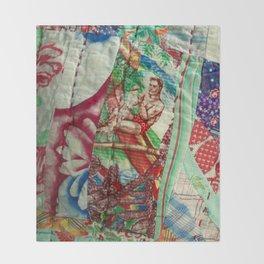 Vintage Hawaiian Quilt Scrap Throw Blanket