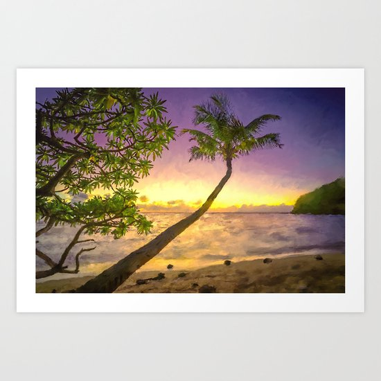 Tropical sunset beach with palms Art Print