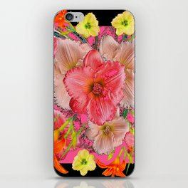 YELLOW PINK & CREAM DAYLILIES BLACK GARDEN iPhone Skin