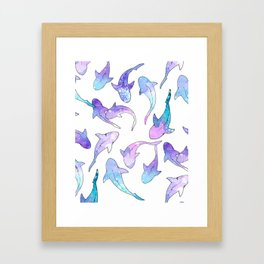 Galaxy Shark Print Framed Art Print