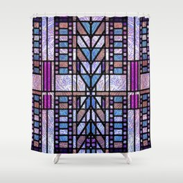Purple and Blue Art Deco Stained Glass Design Shower Curtain