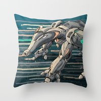 android Throw Pillows featuring android anteater by Kingu Omega