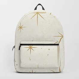 Seamless Pattern Glamorous White Gold Art Deco Stars Constellations Minimalist Geometric Pattern Backpack