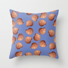 Blue Big Clams Illustration pattern Throw Pillow