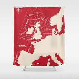 Red Shipping Forecast Shower Curtain