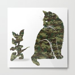 Cute Cat and Mouse T-Shirt - Meow Cats Mouse Camouflage Tee Metal Print