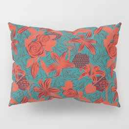 Linocut look in blue with roses Pillow Sham