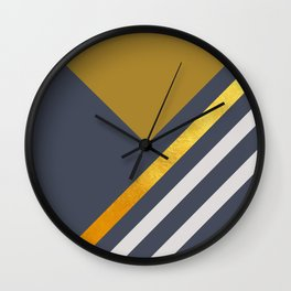 Yellow Triangle On Grey With White And Gold Stripes Wall Clock