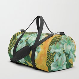 White Lilies and Palm Leaf Duffle Bag