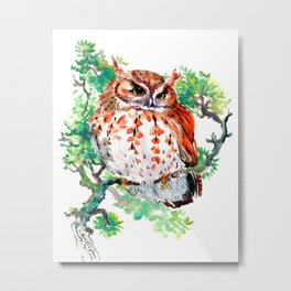 Your Best Friend Owl, woodland Owl art,, children illustration of OWL Metal Print