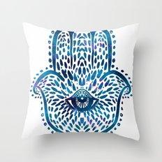 Blue Hamsa Hand Throw Pillow