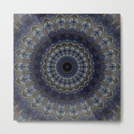 Night Sky Mandala Metal Print
