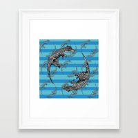 otters Framed Art Prints featuring Swimming Otters by Curious Nonsense.
