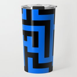Black and Brandeis Blue Labyrinth Travel Mug