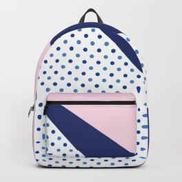 Navy blue blush pink polka dots geometrical pattern Backpack