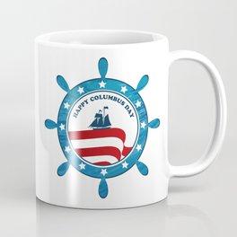 Columbus Ship steering wheel - Happy Columbus Day Coffee Mug