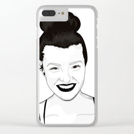 Happy motivated woman celebrating life Clear iPhone Case